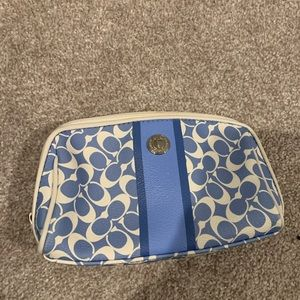 Coach blue and white logo pouch